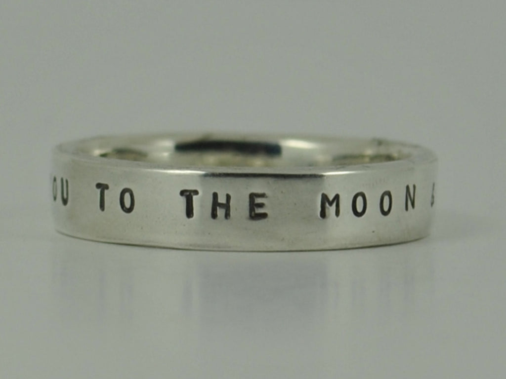 Sterling silver Love You To The MOON AND BACK stamped ring