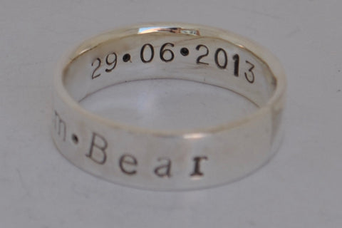 Personalised Sterling Silver Father's ring - Family ring, anniversary
