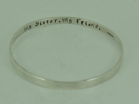 Personalised Secret Message Solid Sterling Silver Bangle / Bracelet - Stacking - handmade- UK