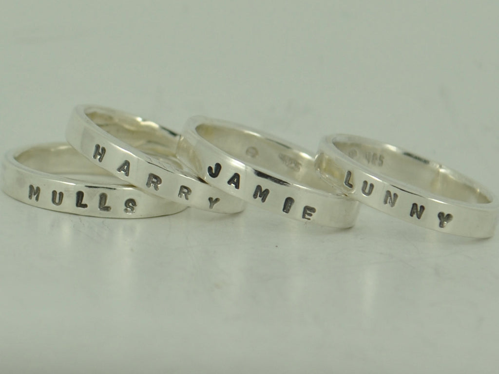 Personalised sterling silver stackable Mother's ring - With name of your choice