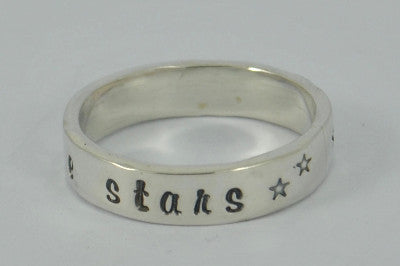 Gorgeous Solid Sterling silver I love you to the stars & back handstamped ring