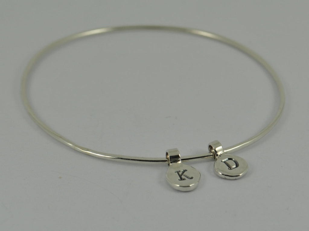 Sterling Silver Initial Recycled Pebble Bangle / Bracelet Personalised Handmade UK