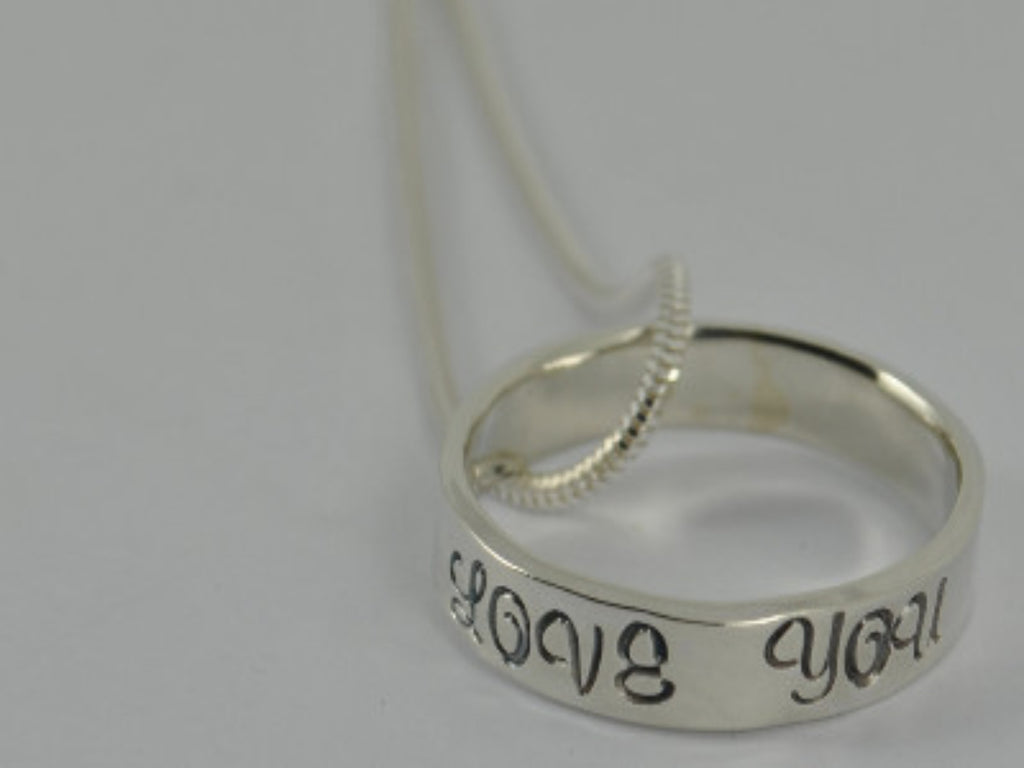 Ring / Circle Sterling Silver I LOVE YOU pendant handmade jewellery