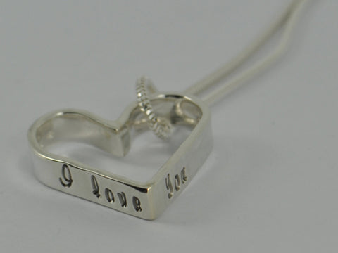 Chunky Personalised Stamped Heart Sterling Silver Pendant