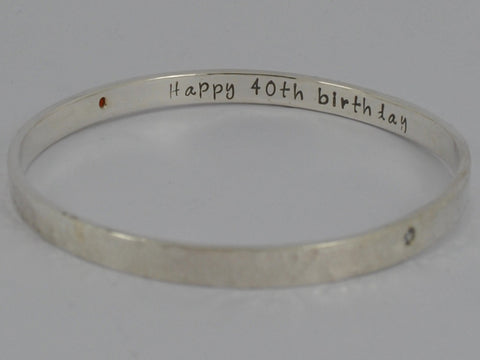 Personalised Secret Message Hammered Gemstone Solid Sterling Silver Bangle / Bracelet Stacking