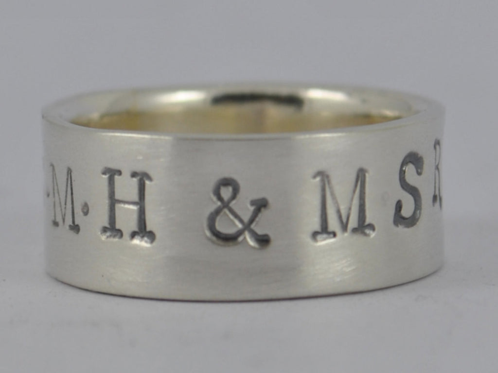 Personalised Sterling Silver Mans Wide Family Name Wedding Ring Band - 6mm, 8mm