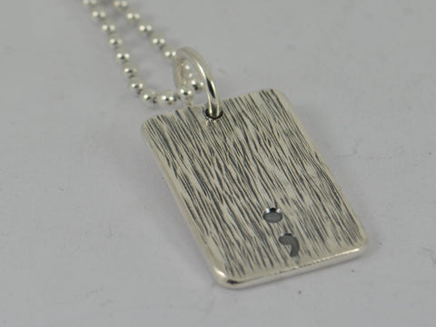 Men's SECRET MESSAGE SEMICOLON Bark Textured Sterling Silver Dog Tag Necklace Pendent