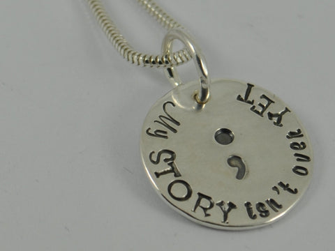 MY STORY SEMICOLON Sterling Silver Necklace Pendant Semi colon