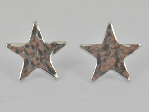 HAMMERED Sterling Silver STAR Earrings Ear Post Stud