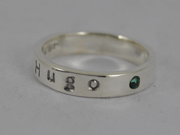 Personalised Sterling Silver Birthstone Mother's ring - With Name and Gemstone