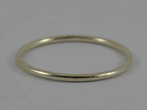 WHITE GOLD Skinny Wedding Ring Stackable Stacking Brushed Hammered Finish 9ct 9k