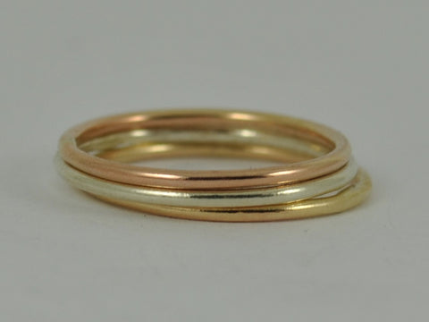 Three Hammered Brushed Polished YELLOW ROSE WHITE Gold skinny band ring stackable stacking