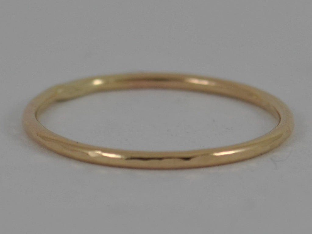 YELLOW GOLD HAMMERED Skinny Wedding Band Ring Stackable Stacking