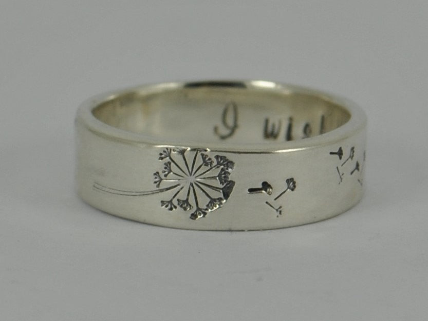 Gorgeous Personalised SECRET MESSAGE DANDELION Wish Wide Ring Band