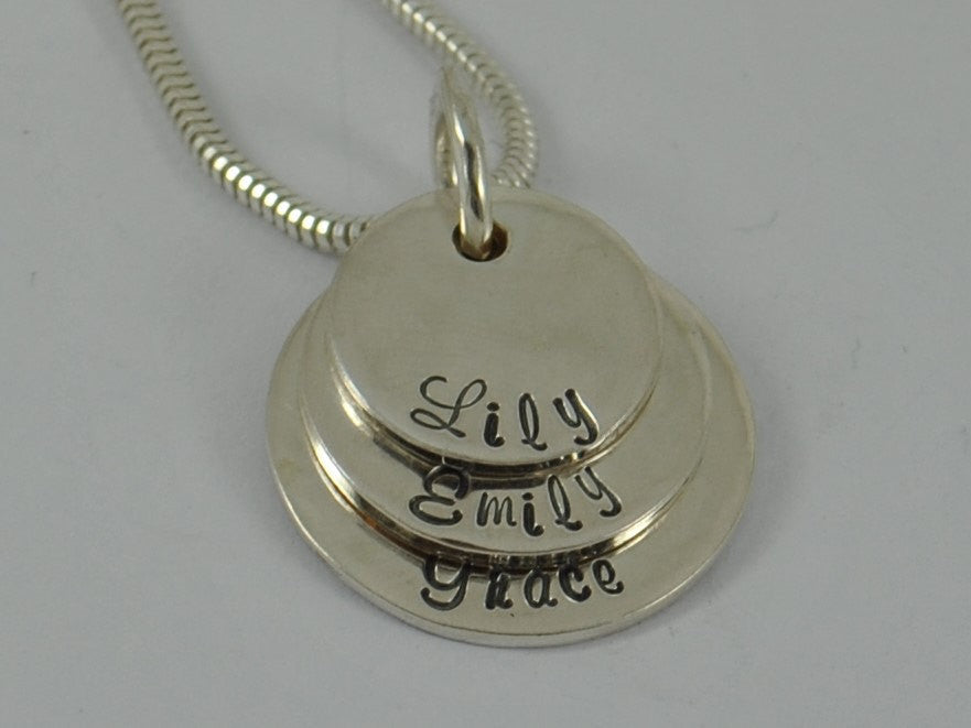 Personalised Family Mother's Sterling Silver Pendant Necklace Triple Mum layed circle disc