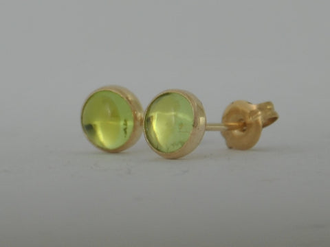 Gold Peridot Cabochon Green Yellow Gold Fill Stud Post Earrings August Birthstone Gift 5mm