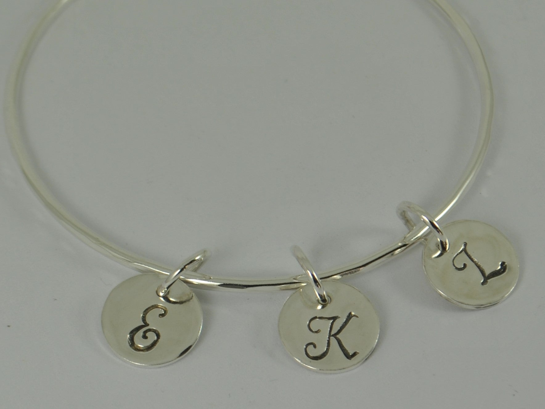 monogram silver bracelet bangle name sterling inches initial personalized jewelry com amazon dp