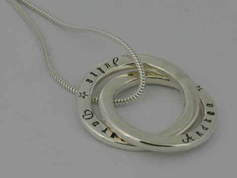 Personalised Mother's Double Rolling Ring Sterling Silver Yellow Gold 9ct Pendant Necklace