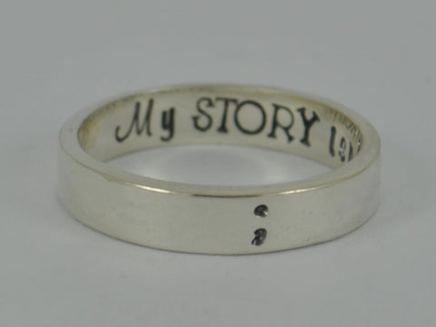 SECRET MESSAGE SEMICOLON Sterling Silver Personalised Ring Semi colon