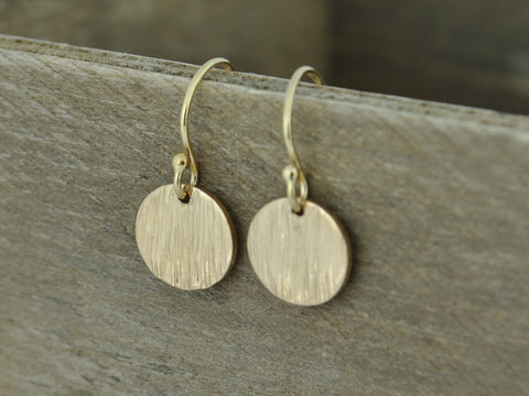 Rose Gold Yellow Gold Hammered Tree Bark Textured Raw Silk Drop Dangle Earrings Minimalist Simple
