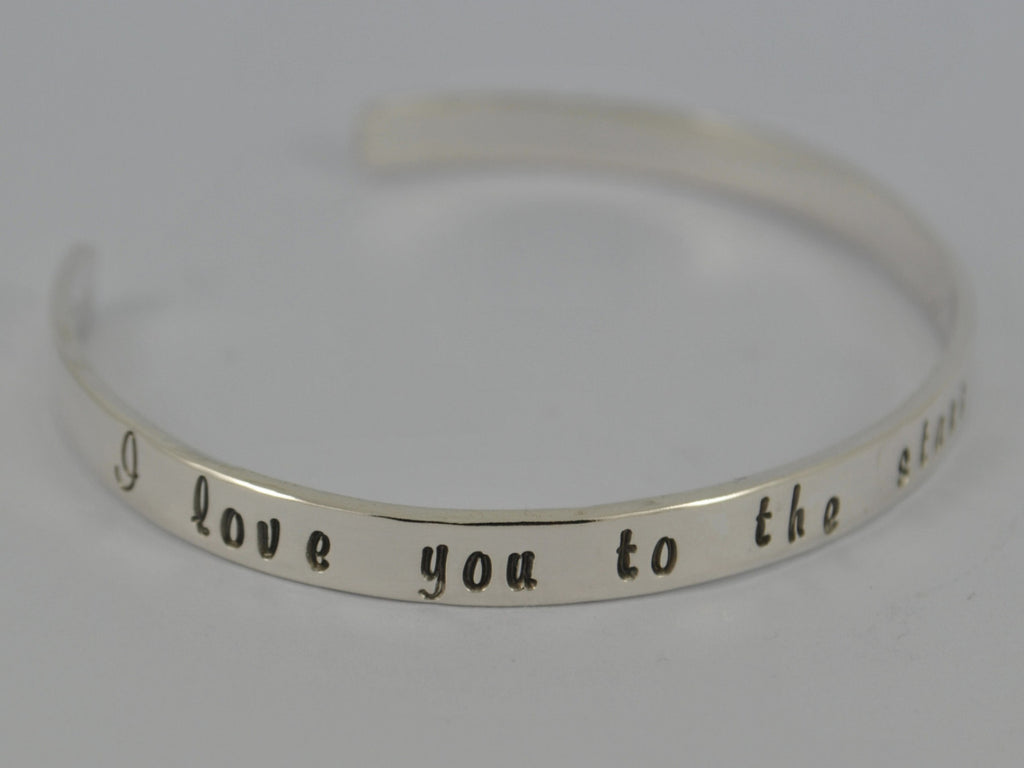 I love you to the stars & back - Solid Sterling Silver Cuff Bangle Bracelet