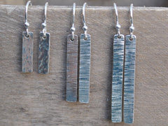 Sterling Silver Stick Hammered Tree Bark Raw Silk Drop Dangle Earrings Rustic Icicle Minimalist