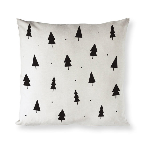 Christmas Trees Cotton Canvas Holiday Pillow Cover