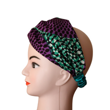 Load image into Gallery viewer, Green & Purple African Print Doek Head Band