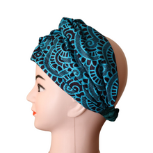 Load image into Gallery viewer, Blue African Print Doek Head Band