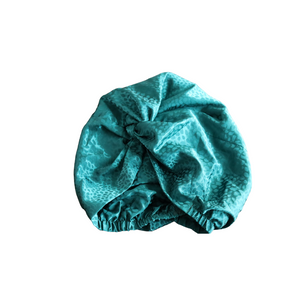 Green Embossed Satin Turban