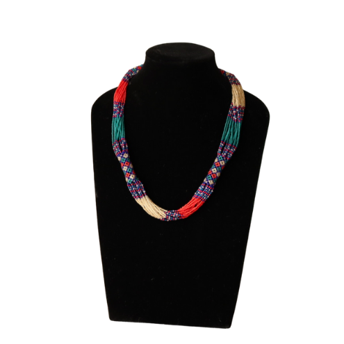 Short Blue and Red Multistranded Necklace