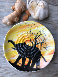 Elephant at dusk - Ceramic Grater Plate