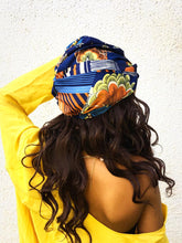Load image into Gallery viewer, Blue Satin Print Turban