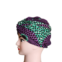 Load image into Gallery viewer, Green & Purple African Print Turban
