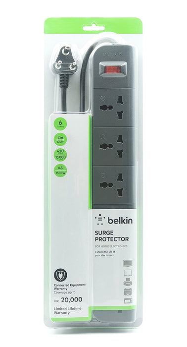 Belkin 6-Universal Socket Surge Protector with 2 meters Heavy Duty Cable