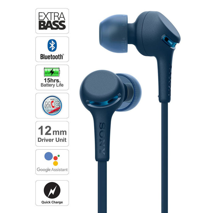 Sony WI-XB400 Wireless Bluetooth Extra Bass Headphones with MIC, 15 Hours Battery Life, Quick Charge, Magnetic Earbuds and Tangle Free Cord