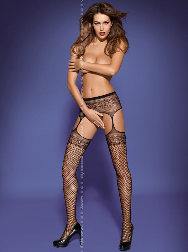 "Garter Stockings ""S502"" in schwarz"
