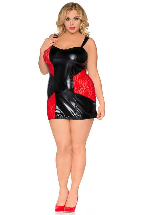 schwarz-rotes Wetlook Chemise SB-1006 Sexy Base Kollektion by Andalea