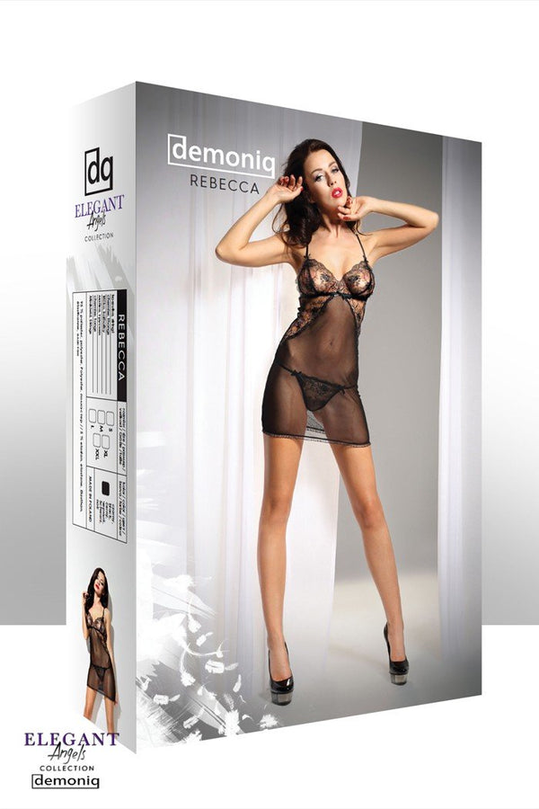 schwarzes Chemise Rebecca von Demoniq Elegant Angels Collection