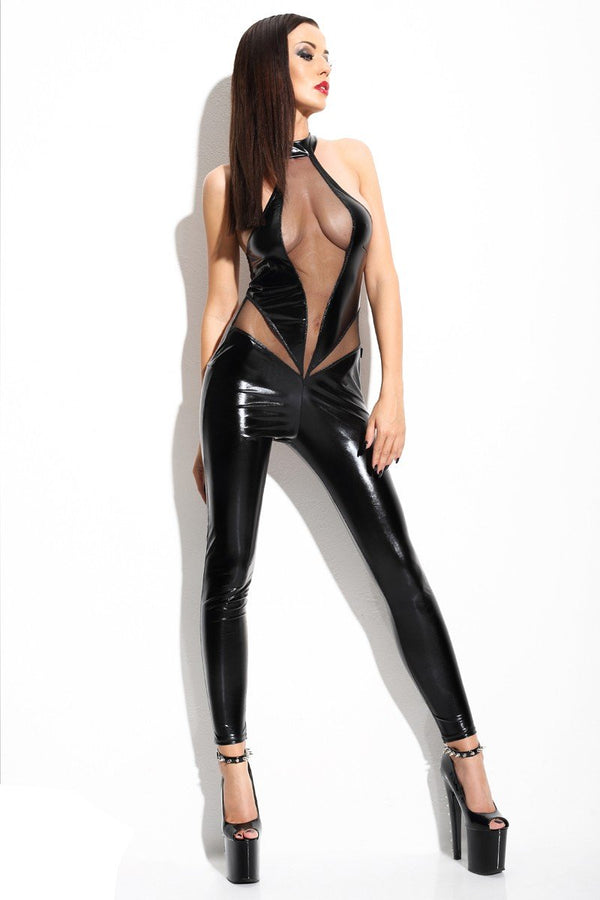 schwarzes Catsuit Angela von Demoniq Mistress Collection