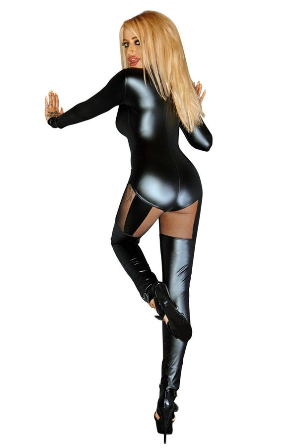 schwarzes Wetlook Catsuit F136 von Noir Handmade Diva Collection