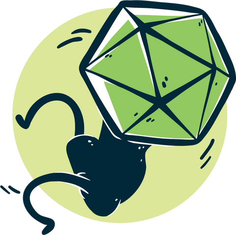 Small creature with a d20 for a head