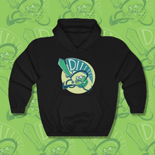 Load image into Gallery viewer, Sweatshirt with cartoon of green d6 yelling DIIIIIEEE as it swings a sword.