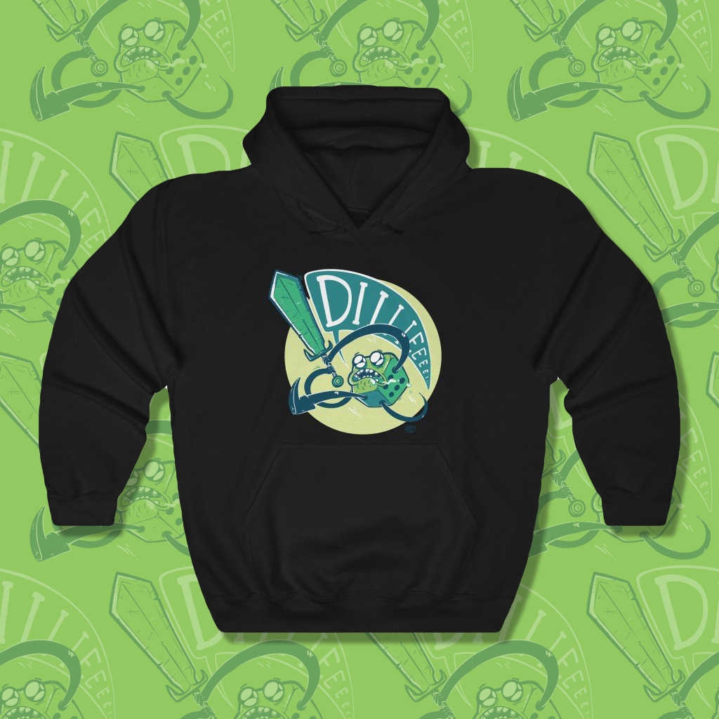 Sweatshirt with cartoon of green d6 yelling DIIIIIEEE as it swings a sword.