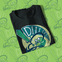 Load image into Gallery viewer, Folded tee shirt with green d6 yelling DIIIIIEEE as it swings a sword.