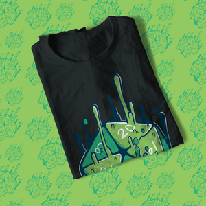 Folded tee shirt with green 20 sided die melting upwards with magic.