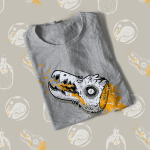 Folded tee shirt with cartoon creature head with orange blood drawn during the 2019 Inktober drawing challenge.