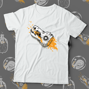 Front view of white teeshirt with cartoon creature head with orange blood drawn during the 2019 Inktober drawing challenge.