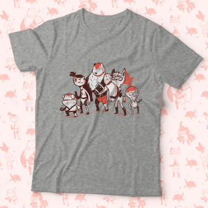 Front shot of tee shirt with characters from Garden of the Temple RPG Zine. The group is a small frog man, an almost human, a large bare guy, a tall cat person, and a little radish creature.