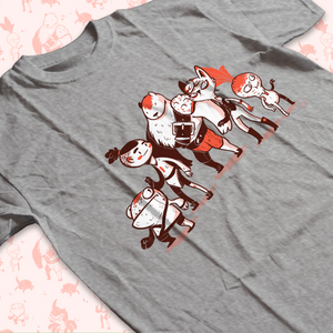 Low angle shot of tee shirt with characters from Garden of the Temple RPG Zine. The group is a small frog man, an almost human, a large bare guy, a tall cat person, and a little radish creature.